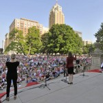 Michigan State Representative Lisa Brown performs The Vagina Monologues on the steps of the Michigan statehouse