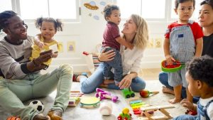 Diverse children and parents playing