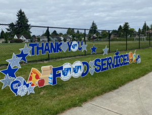 thank you food services sign